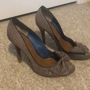 KG by Kurt Geiger pink blue strip heels bow sz 40